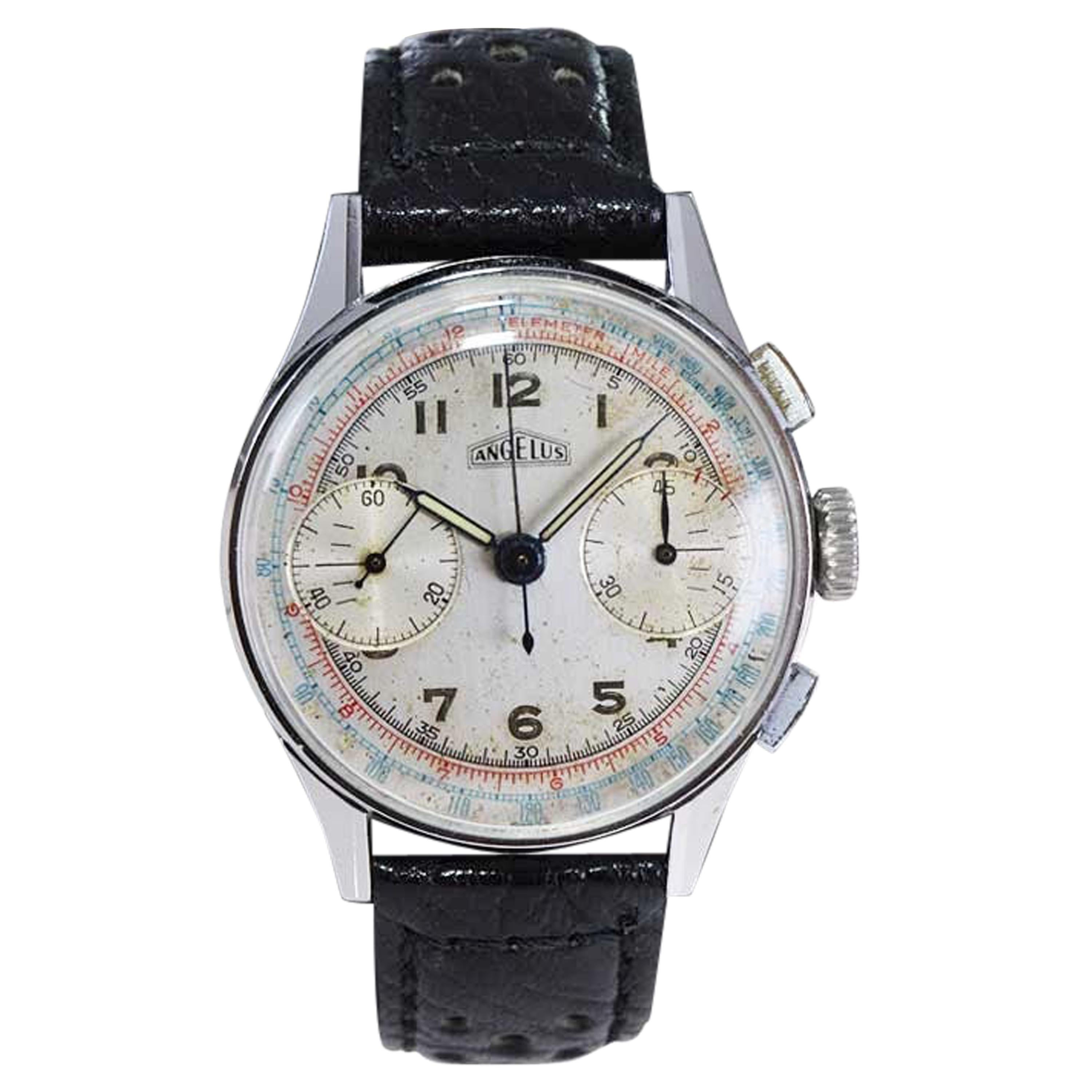 Angelus Stainless Steel Two Register Chronograph Manual Watch, 1940s