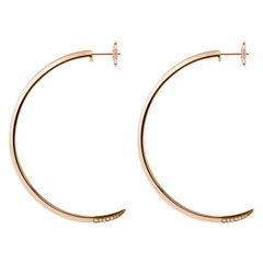 Angie Marei Asasara Pavé Diamond Tip Hoop Earrings in 18 Karat Rose Gold