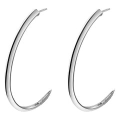 Angie Marei Asasara Pavé Diamond Tip Hoop Earrings in 18 Karat White Gold