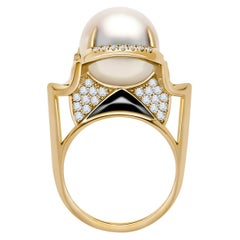 Angie Marei Isis Goddess South Sea Pearl & Diamond Ring in 18K Yellow Gold