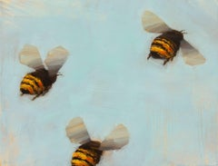 """""""Bees 1-19"""" Small Horizontal Bee Painting on Board"""