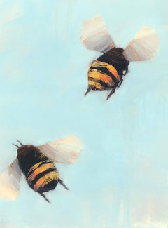 Bees 1-37, Angie Renfro Oil on Board Painting Depicting Bees on Blue Background
