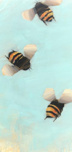 Bees 1-47, Angie Renfro Oil on Board Painting Depicting Bees on Blue Background