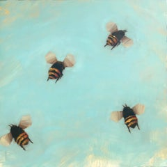 Bees 1-74 by Angie Renfro, Large Oil on Board Depicting Bees on Blue Background