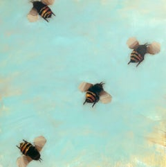 Bees 1-75 by Angie Renfro, Oil on Board Painting with Bees on Blue Background