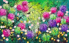 Wild Garden at Dusk - Large painting on two panels, Painting, Oil on Canvas