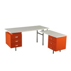 Angle Desk by George Nelson Wood Formica Vintage, Italy, 1960s-1970s