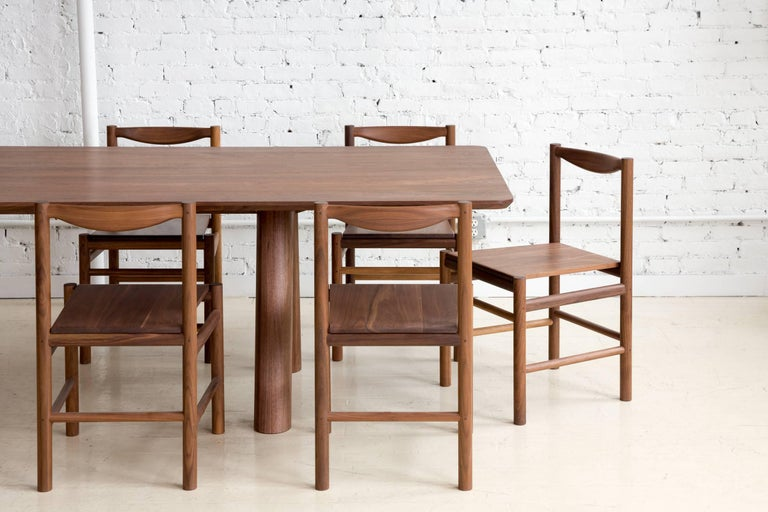 American Contemporary Angled Leg Column Dining Table in Walnut by Fort Standard, in Stock For Sale