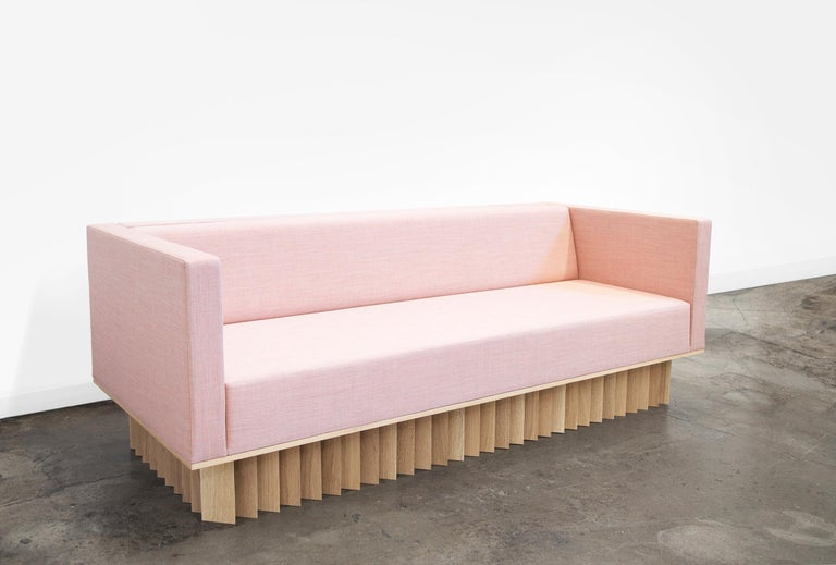 Modern Angled Wood Bar Sofa in Pink by Early Work For Sale