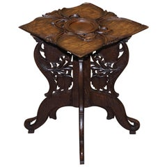Anglo Burmese Hand Carved 19th Century Antique Folding Side End Lamp Wine Table