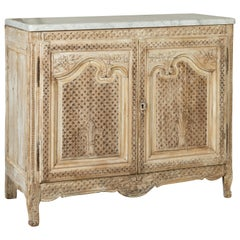 Anglo-Indian 1820s Bleached and Carved Pine Buffet with White Marble Top