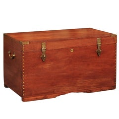 Anglo-Indian 1880s Teak and Brass Trunk with Multiple Storage Compartments