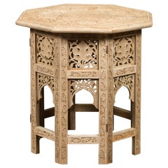 Anglo-Indian 1940s Bleached Low Side Table with Richly Carved Foliage Motifs