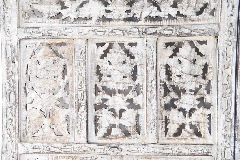 Hand-Carved Anglo Indian 4 Panel Folding Screen For Sale