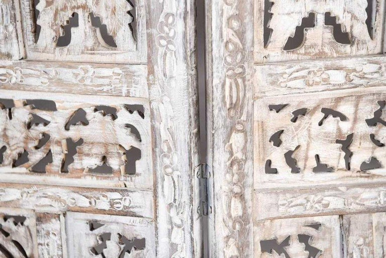 Teak Anglo Indian 4 Panel Folding Screen For Sale