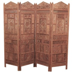 Anglo Indian 4-Panel Handcrafted Teak Wood Screen, Circa 1900s