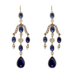 Anglo-Indian Blue Sapphire and Diamond Earring