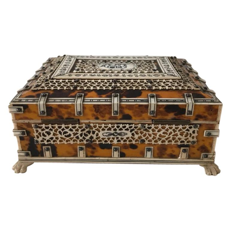 Anglo Indian Bone and Tortoise Shell Box For Sale