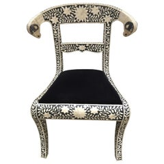 Anglo-Indian Bone Inlaid Side Chair with Ram's Head