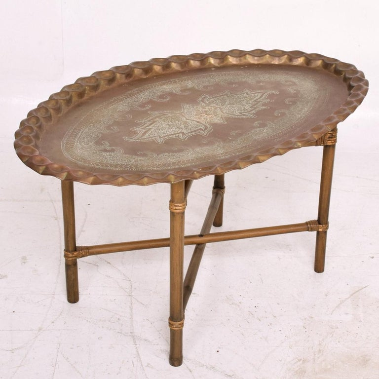 American Anglo Indian Brass and Bamboo Coffee Table, Hollywood Regency For Sale