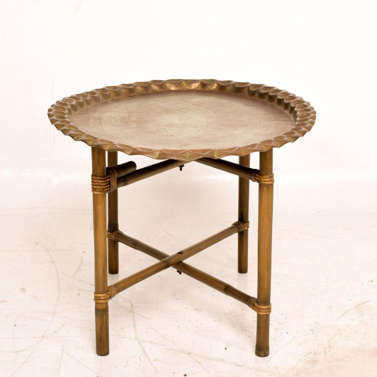 Anglo Indian Brass and Bamboo Coffee Table, Hollywood Regency In Good Condition For Sale In National City, CA