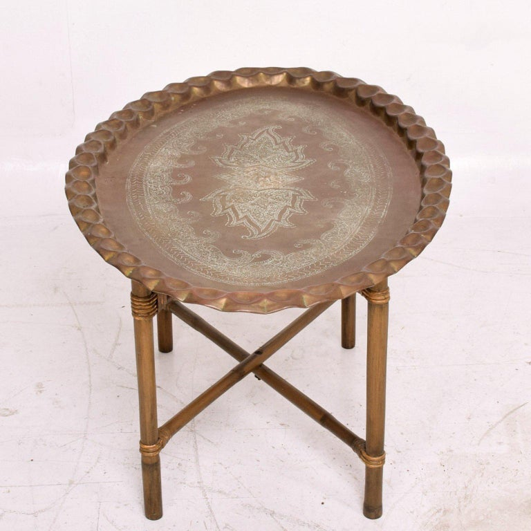 Anglo Indian Brass and Bamboo Coffee Table, Hollywood Regency For Sale 1