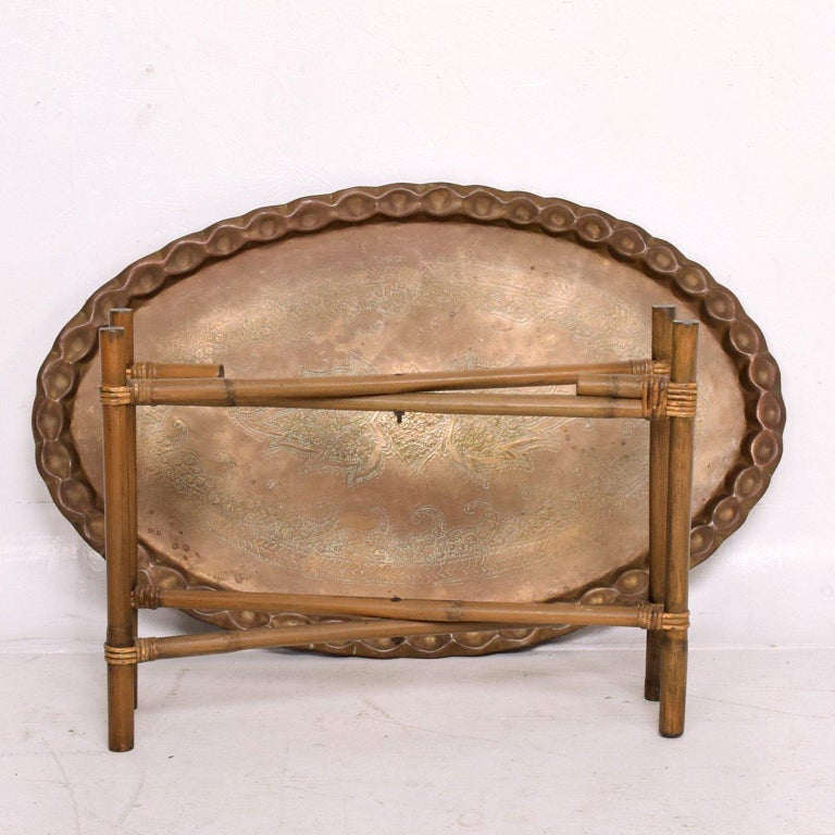 Anglo Indian Brass and Bamboo Coffee Table, Hollywood Regency For Sale 4