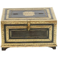 Anglo-Indian Brass Overlay Teak Wood Chest