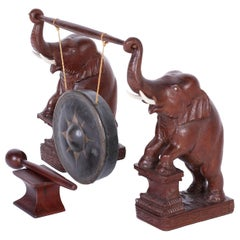 Anglo Indian Bronze Gong with Elephants