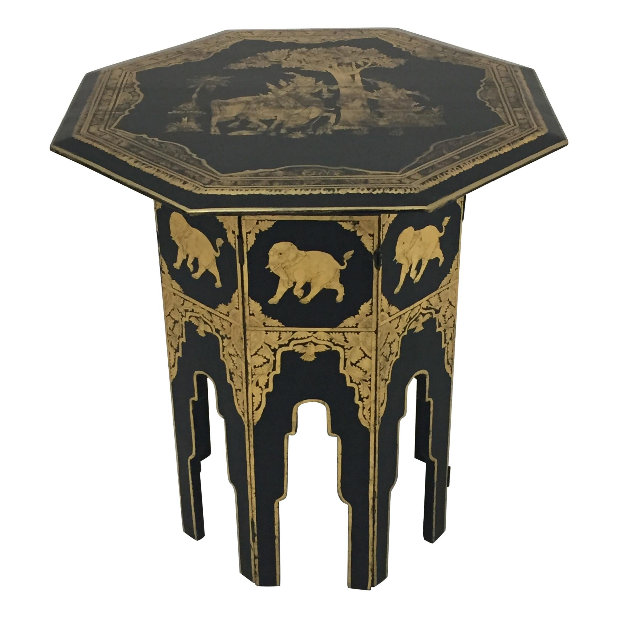 Anglo-Indian Burmese Black and Gold Octagonal End Table
