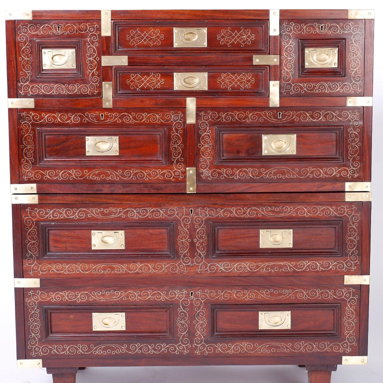 Anglo Indian Campaign Style Rosewood Chest or Nightstands For Sale 4