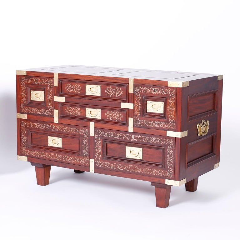 Inlay Anglo Indian Campaign Style Rosewood Chest or Nightstands For Sale