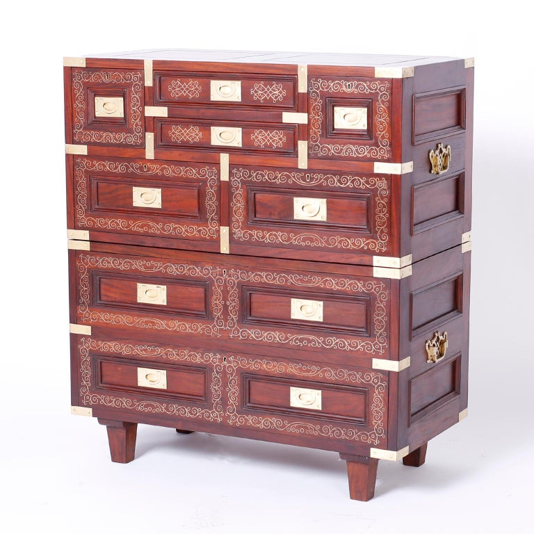 Anglo Indian Campaign Style Rosewood Chest or Nightstands In Good Condition For Sale In Palm Beach, FL