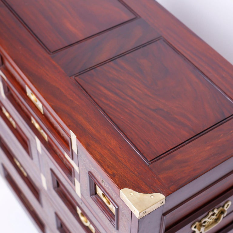 20th Century Anglo Indian Campaign Style Rosewood Chest or Nightstands For Sale
