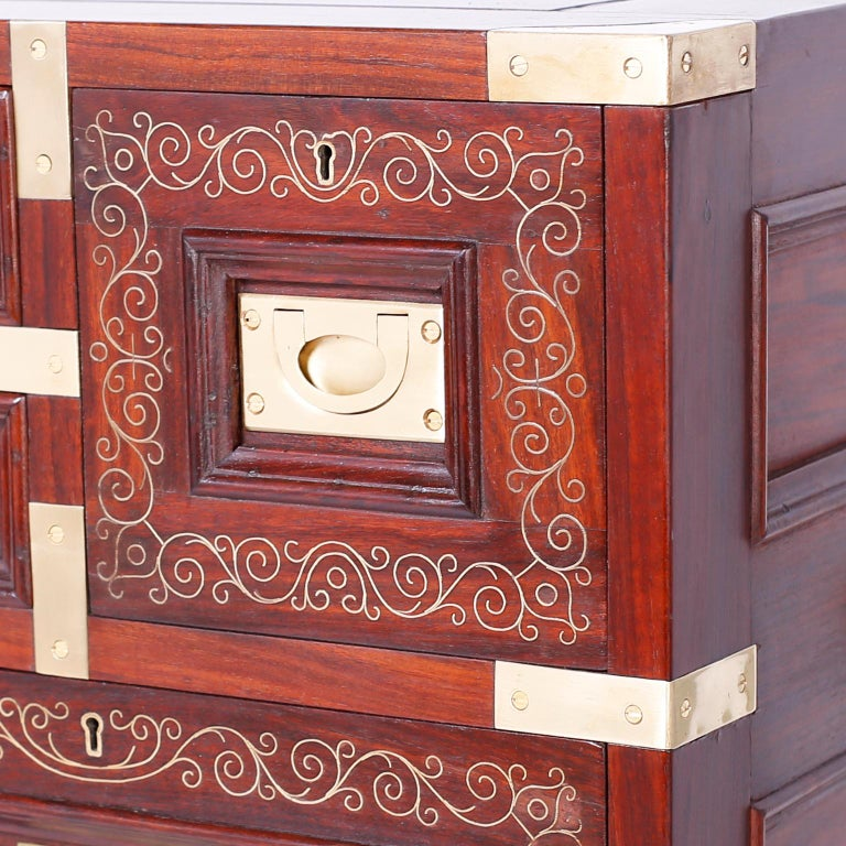Anglo Indian Campaign Style Rosewood Chest or Nightstands For Sale 1