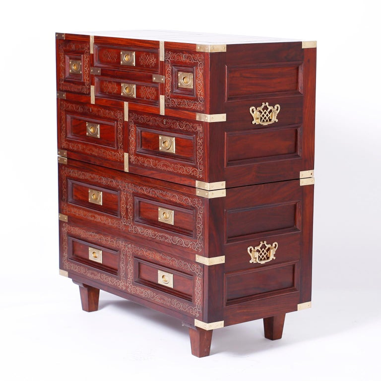 Anglo Indian Campaign Style Rosewood Chest or Nightstands For Sale 2