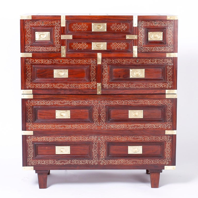 Anglo Indian Campaign Style Rosewood Chest or Nightstands For Sale 3