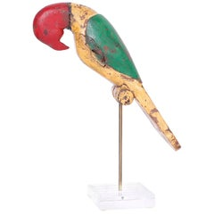 Anglo Indian Carved and Painted Parrot or Bird on Stand