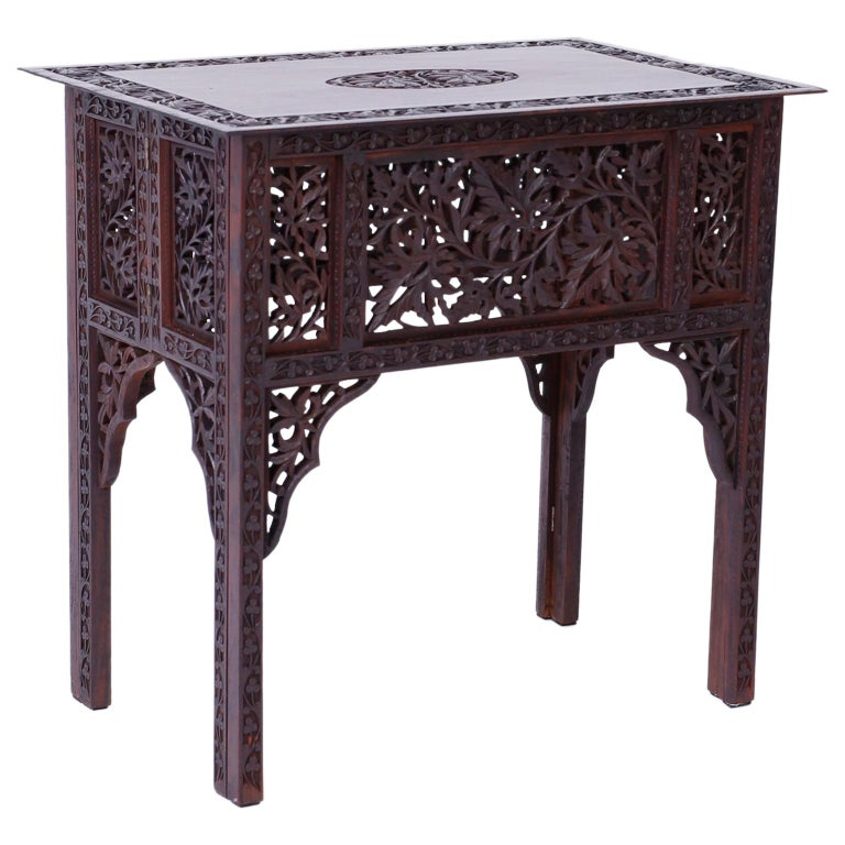 Anglo Indian Carved Bombay Black Wood Side Table For Sale At 1stdibs