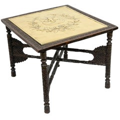 Anglo Indian Carved Brass top Table
