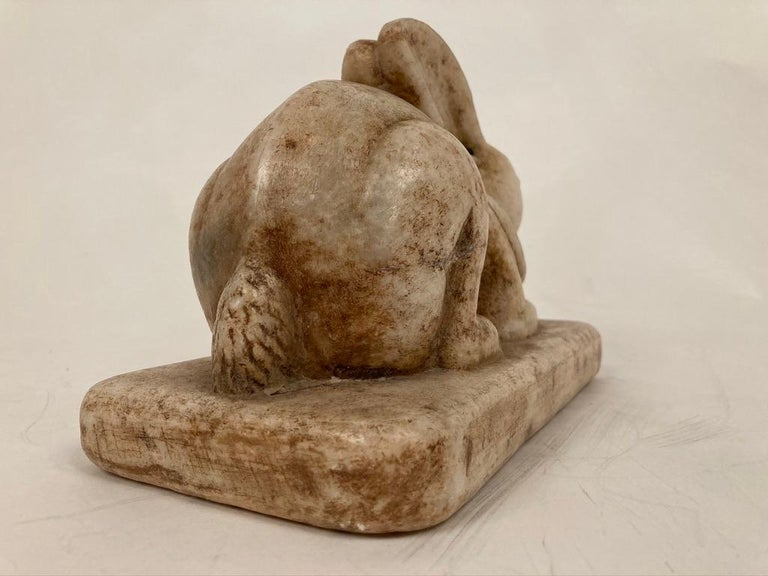 Anglo-Indian Carved Marble Figure of a Rabbit For Sale 5