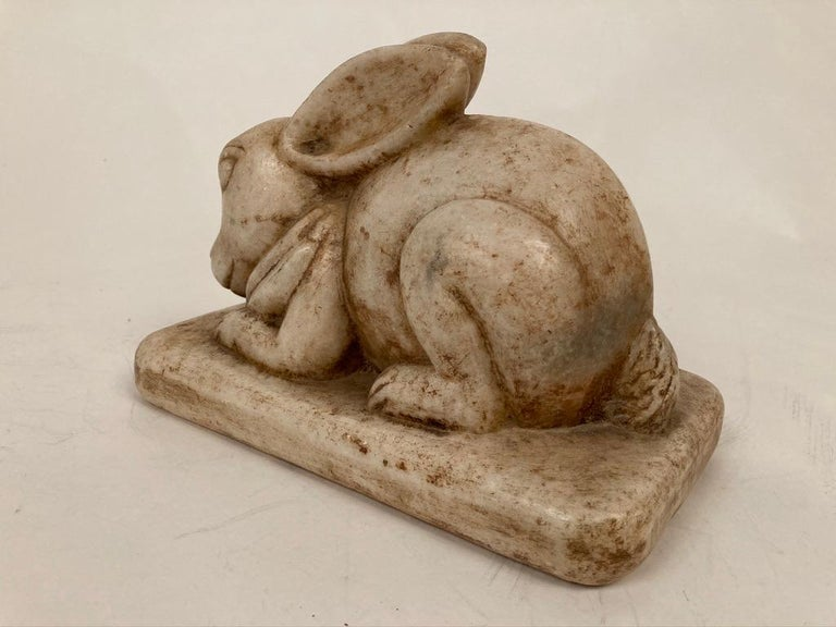 Anglo-Indian Carved Marble Figure of a Rabbit For Sale 8