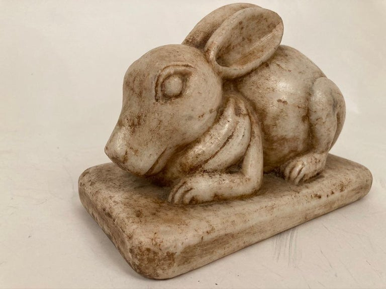 Anglo-Indian Carved Marble Figure of a Rabbit For Sale 9