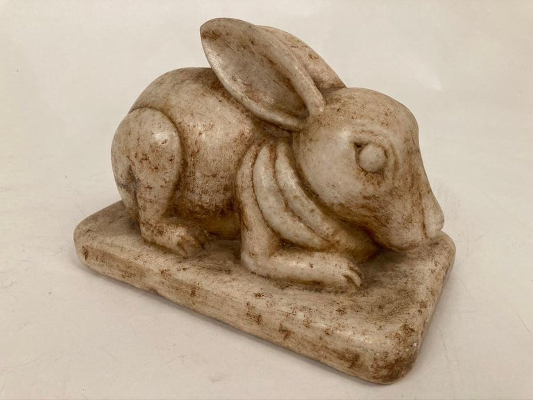 Anglo-Indian Carved Marble Figure of a Rabbit For Sale 11