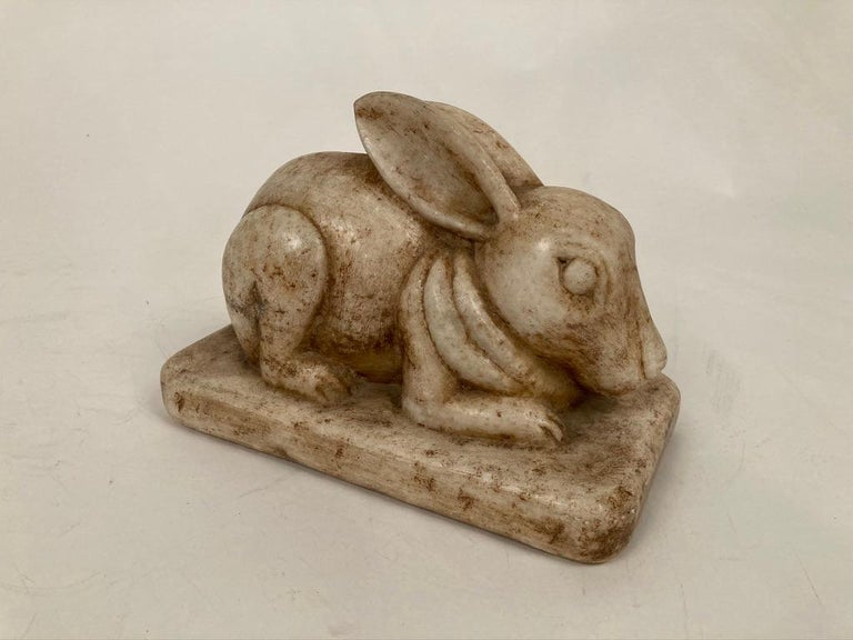 Anglo-Indian Carved Marble Figure of a Rabbit For Sale 13