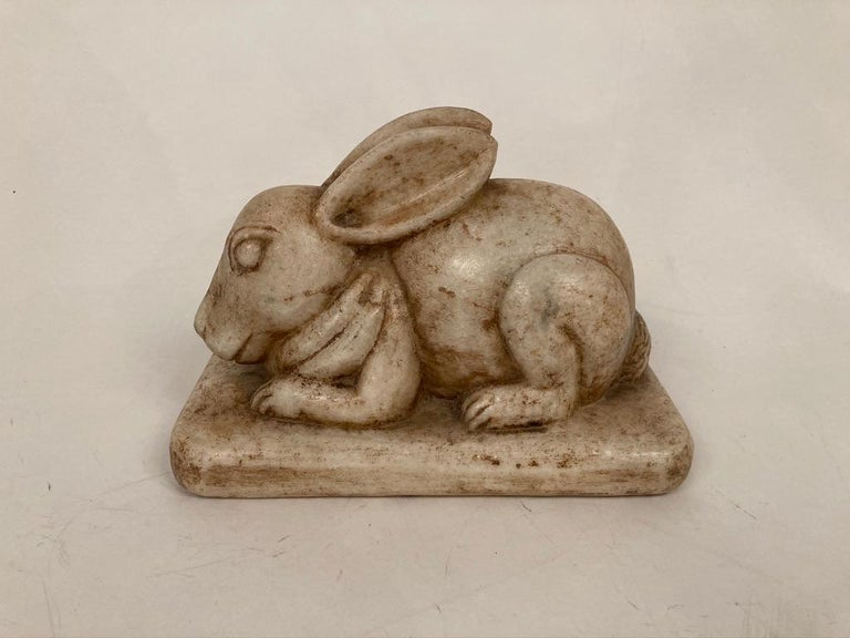 Hand-Carved Anglo-Indian Carved Marble Figure of a Rabbit For Sale