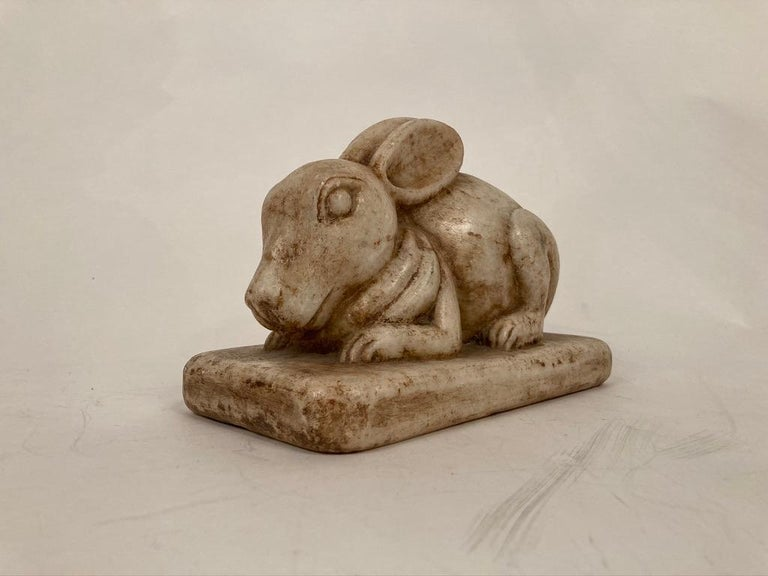 20th Century Anglo-Indian Carved Marble Figure of a Rabbit For Sale