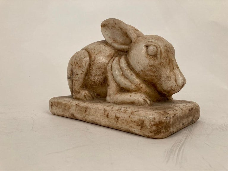 Anglo-Indian Carved Marble Figure of a Rabbit For Sale 1