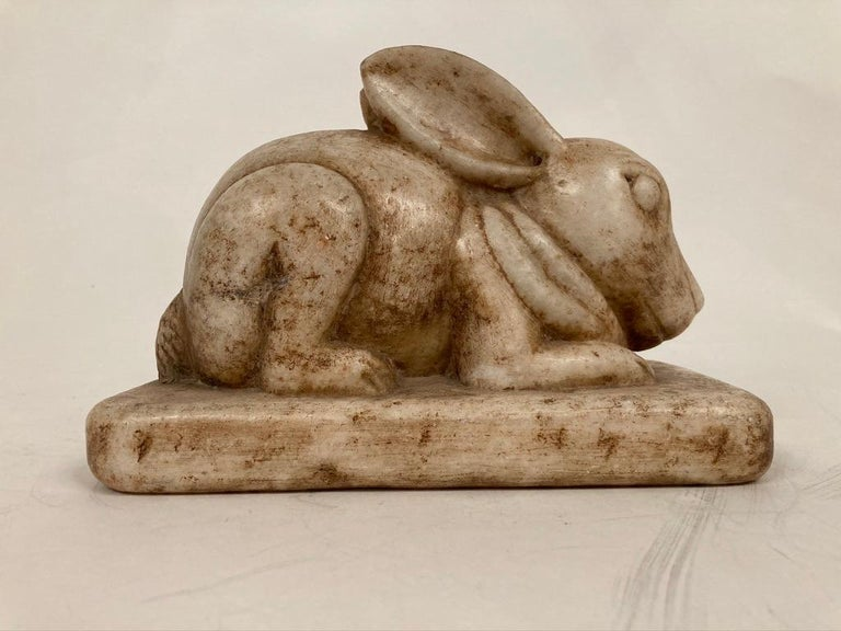 Anglo-Indian Carved Marble Figure of a Rabbit For Sale 2