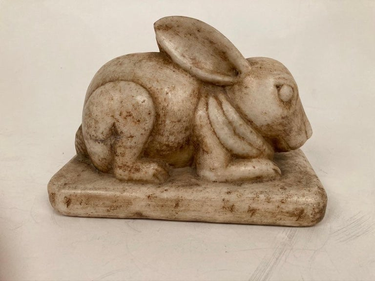 Anglo-Indian Carved Marble Figure of a Rabbit For Sale 3